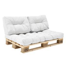 [en.casa]® Kuormalavakaluste tyyny-setti - vaahtomuovi päällinen (1 x istuin- 2 x selkätyyny) - valkoinen