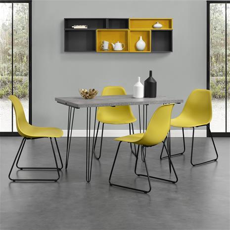 [en.casa]® Design ruokapöytä - betoni-vaikutus + design tuoli 4 kpl / setti - sinapinkeltainen - 82 x 46,5 x 56 cm