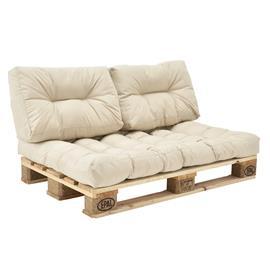 [en.casa]® Kuormalavakaluste tyyny-setti - vaahtomuovi päällinen (1 x istuin- 2 x selkätyyny) - beige