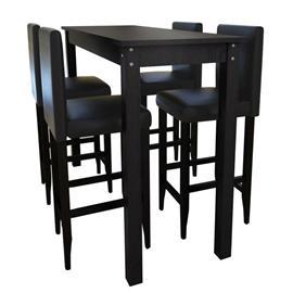 vidaXL Baaripöytä neljällä baarituolilla Musta (240378+ 2 x 240071)