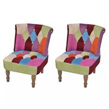 vidaXL Ranskalainen tuoli 2 kpl tilkkutakki suunnittelu kangas
