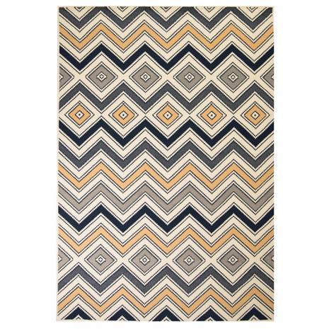 vidaXL Moderni matto siksak-kuvio 80x150 cm ruskea/musta/sininen