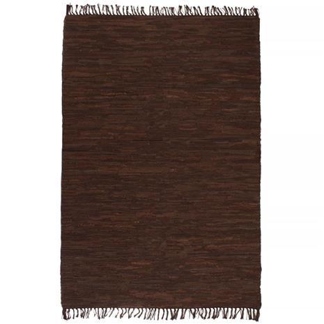 vidaXL Käsinpunottu Chindi-matto nahka 160x230 cm ruskea