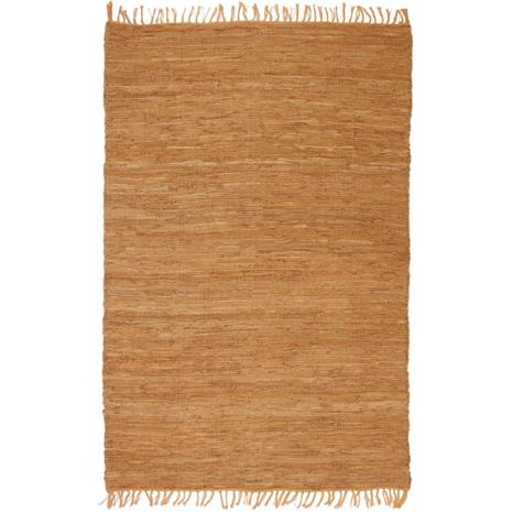 vidaXL Käsin kudottu Chindi-matto nahka 160x230 cm kellanruskea