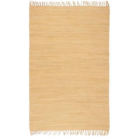 vidaXL Käsin kudottu Chindi-matto puuvilla 160x230 cm beige