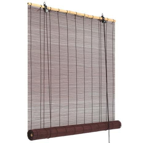 vidaXL Rullaverho bambu 140x160 cm tummanruskea