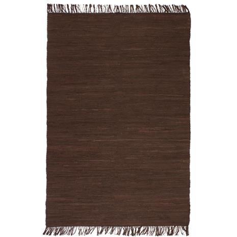 vidaXL Käsinkudottu Chindi-matto puuvilla 80x160 cm ruskea