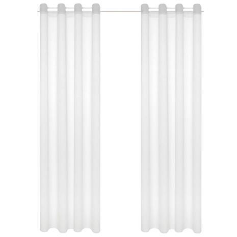 vidaXL Pellavan näköiset voileeverhot 2 kpl 140x225 cm valkoinen