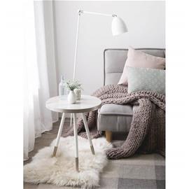 Beliani Sivupöytä marmorinen hopea/valkoiset jalat RAMONA