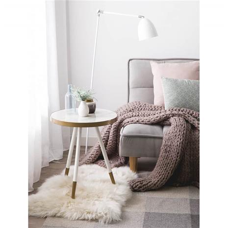 Beliani Sivupöytä marmorinen kulta/valkoiset jalat RAMONA