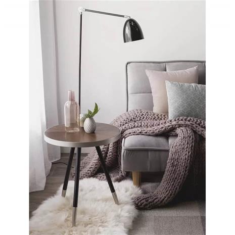 Beliani Sivupöytä puinen hopea/mustat jalat RAMONA