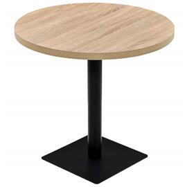 vidaXL Bistropöytä MDF ja teräs pyöreä 80x75 cm tammenvärinen