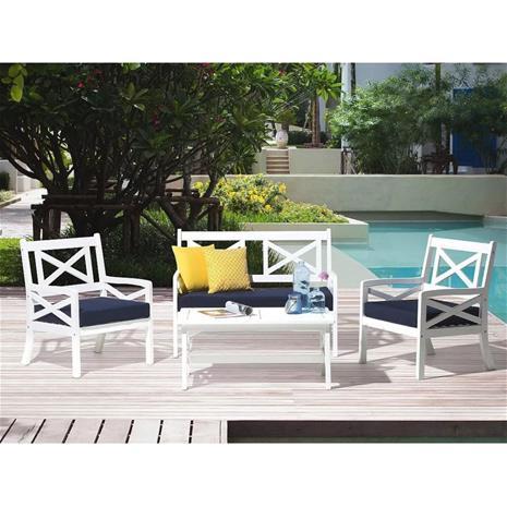 Beliani Puinen istuinryhmä puutarhaan – Pöytä, penkki ja 2 nojatuolia sinisill