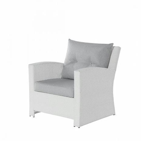 Beliani Valkoinen polyrottinkinen sohvasetti - sohva, 2 nojatuolia ja sohvapöy