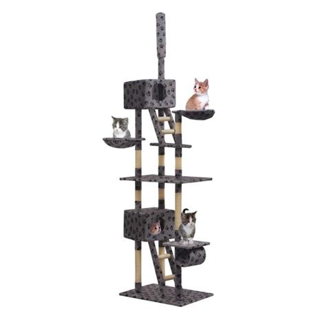 vidaXL Kissan kiipeilypuu sisal-pylväillä 230-260cm tassut harmaa