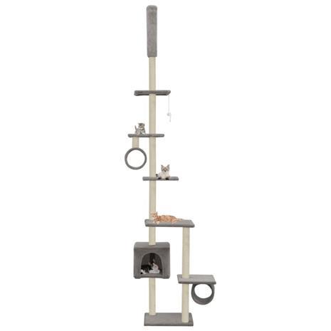 vidaXL Kissan kiipeilypuu sisal-pylväillä 260 cm harmaa