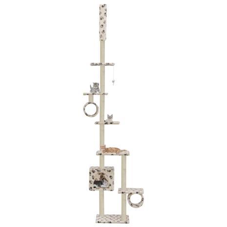 vidaXL Kissan kiipeilypuu sisal-pylväillä 260 cm tassunjäljet beige
