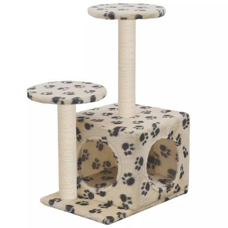 vidaXL Kissan kiipeilypuu sisal-pylväillä 60 cm tassunjäljet beige