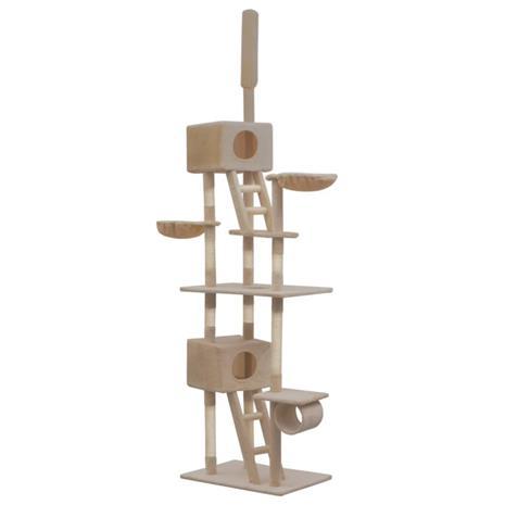 vidaXL Kissan kiipeilypuu sisal-pylväillä 230-260 cm beige