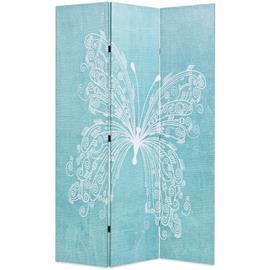 vidaXL Taitettava tilanjakaja perhoset 120x180 cm sininen