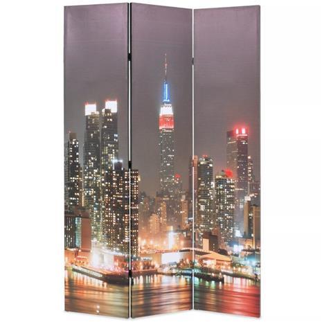 vidaXL Taitettava tilanjakaja 120x180 cm New Yorkin yömaisema