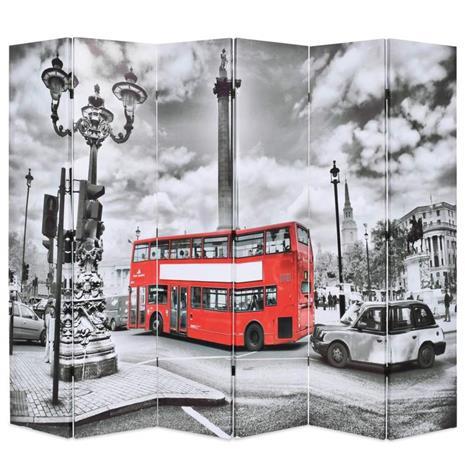 vidaXL Taitettava tilanjakaja Lontoon bussi 228x180 cm mustavalkoinen