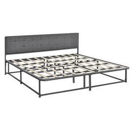 [en.casa]® Metalli parisängynrunko - musta - 180 x 200 cm - kangas sängynpääty