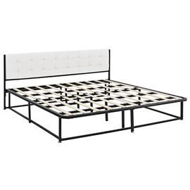 [en.casa]® Metalli parisängynrunko - musta - 180 x 200 cm - tekonahka sängynpääty