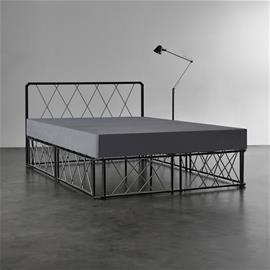 [en.casa]® Metalli parisängynrunko - musta - 140 x 200 cm + sälepohja