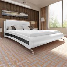 vidaXL Keinonahkainen sängynrunko jaloilla 200 x 180 cm Valkoinen ja musta