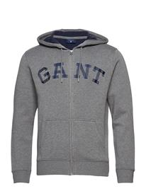 GANT O2. Contrast Backside Full Zip Hood Harmaa