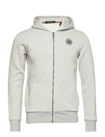 Scotch & Soda Classic Zip-Thru Hoodie With Chest Badge Harmaa