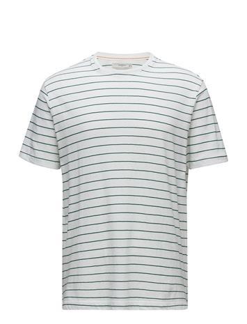 Mango Man Striped Cotton T-Shirt Valkoinen