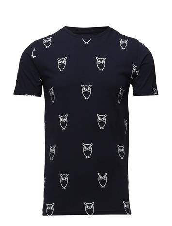 Knowledge Cotton Apparel All Over Big Owl Printed Tee - Gots Sininen