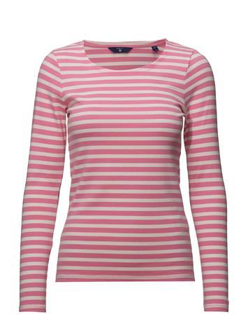 GANT 1x1 Rib Ls T-Shirt Vaaleanpunainen