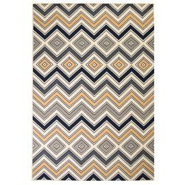 vidaXL Moderni matto siksak-kuvio 180x280 cm ruskea/musta/sininen