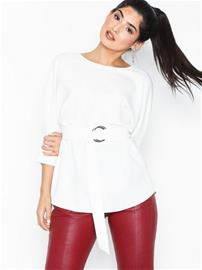 River Island LS Delta Waisted Top Ivory