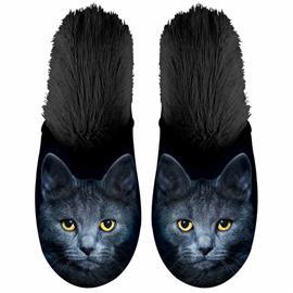 Plenty Gifts Eläinkuvioiset tossut kissa plyysi koko 35-38 musta, Miesten kengät