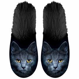 Plenty Gifts Eläinkuvioiset tossut kissa plyysi koko 39-42 musta, Miesten kengät