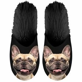 Plenty Gifts Eläinkuvioiset tossut ranskanbulldoggi koko 39-42 musta, Miesten kengät