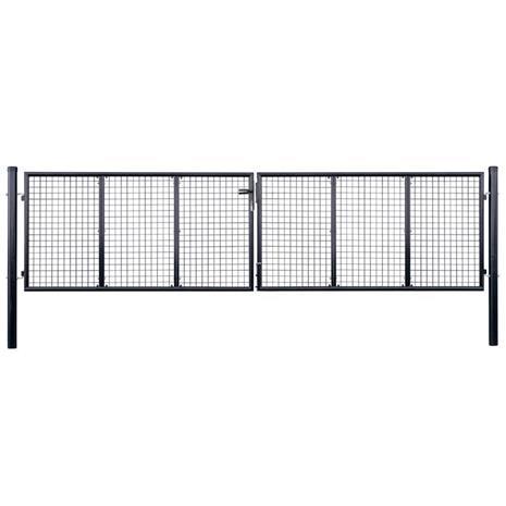 vidaXL Puutarhaportti galvanoitu teräsverkko 400x125 cm harmaa
