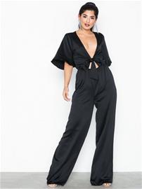 Missguided Kimono Wide Leg Jumpsuit Black