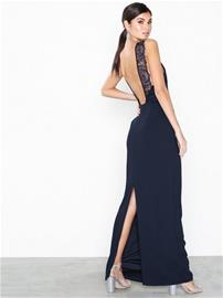 NLY Eve Lace Back Crepe Gown Navy