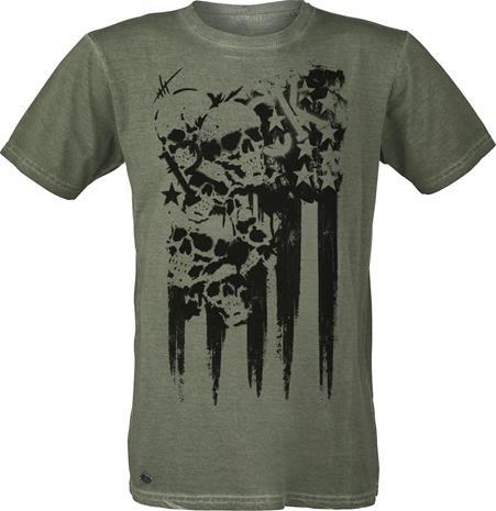 RED by EMP Skull Streetart T-paita oliivi