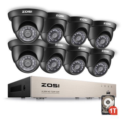 ZOSI Övervakningspaket 8st kameror 720P Vattentålig 1TB