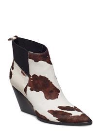 Mango Leather Cowboy Ankle Boots Ruskea