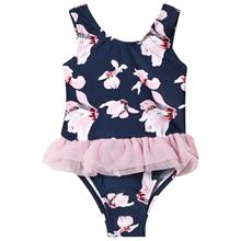Navy & Pink Orchid Tulle Skirt Swimsuit12-18 months