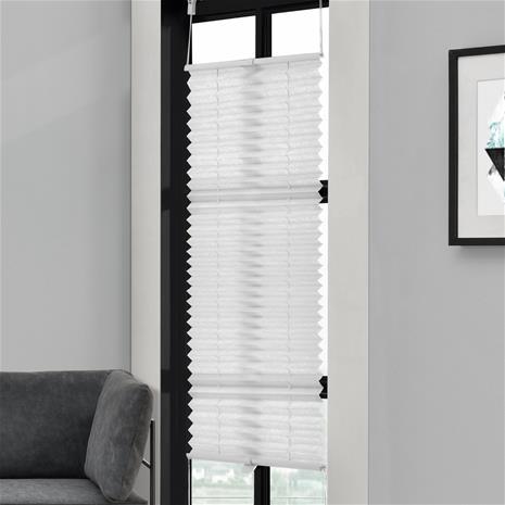 [neu.haus] Taiteverho / pliseerattu verho - 60 x 200 cm - valkoinen - aurinkosuojaverho - pimennysverho - ilman porausta