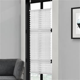 [neu.haus] Taiteverho / pliseerattu verho - 55 x 200 cm - valkoinen - aurinkosuojaverho - pimennysverho - ilman porausta