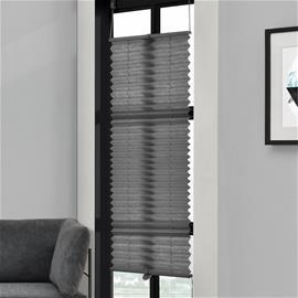 [neu.haus] Taiteverho / pliseerattu verho - 55 x 125 cm - harmaa - aurinkosuojaverho - pimennysverho - ilman porausta